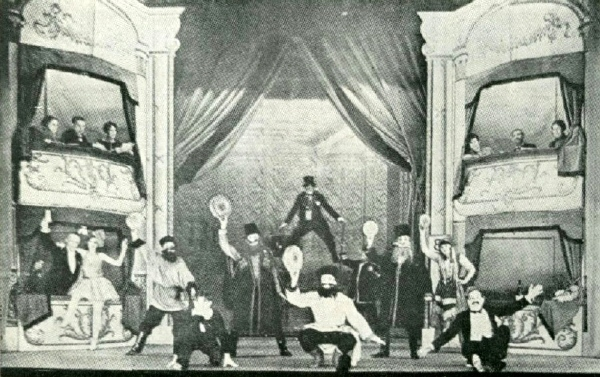 A Stage Upon Actual Photo Of The Karno Company Performing Mumming Birds Note That Boxes Left And Right Are Part Set